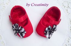 Red baby girl shoesballet shoessoft sole shoescrib by Creatimity