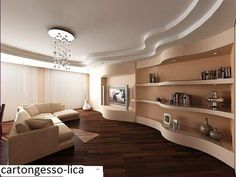 New modern false ceiling design for living room 2019 Interior Design Yellow, Modern Home Interior Design, Interior Concept, Plafond Staff, Karton Design, Fabric Ceiling, Pop Ceiling Design, Model Homes, Living Room Designs