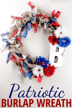 Red, White, and Blue Patriotic Burlap Wreath