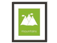 Mountain Nursery Art, Modern Kids Wall Art, Outdoors Nursery, Children Wall Art, Forest Theme Nursery, Outdoor Adventure Kids Wall Art