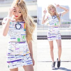 Omighty Windows 95 Top, Omighty Word Art Skirt, Marina Fini Hand Cursor Necklace, Yru Karazii In Black Multi