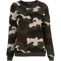 TOPSHOP Knitted Camoflage Jumper ($25) ❤ liked on Polyvore featuring tops, sweaters, shirts, jumper, topshop, khaki, topshop jumpers, camo shirt, shirt sweater and camo jumper