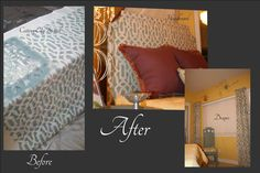 Treasured Rubbish: DIY Upholstered Headboard, with Stenciled Fabric