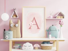 Affiche de différents formats au choix, pour chambre d'enfant avec son initiale au décor floral en aquarelle.  #fleur #aquarelle #watercolor #pink #rose #baby #chambreenfant #children #littlegirl