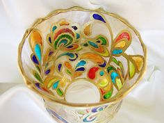 Blooming Rainbow Hand Painted Glass Candle Holder OOAK by VioMar, $59.00