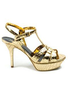 Metallic gold-tone leather crocodile effect 'Tribute' sandal from Saint Laurent