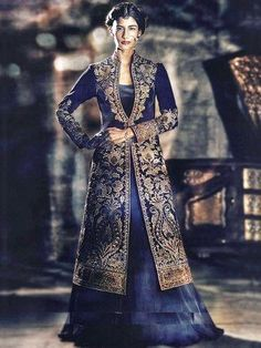 Long Shirt Indian Blue Wedding lehenga (1)