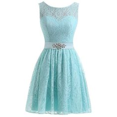 YINHAN Women's Floral Lace Dress Short Bridesmaid Evening Party Prom... (640 ARS) ❤ liked on Polyvore featuring dresses, blue homecoming dresses, cocktail dresses, lace bridesmaid dresses, short bridesmaid dresses and cocktail prom dress