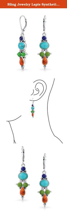 Bling Jewelry Lapis Synthetic Turquoise Red Coral Dangle Earrings Silver. Spice up any look with glam multicolor Turquoise and Lapis leverback earrings. Our colorful sterling silver drop dangle earrings will frame your face in style. Our silver gemstone leverback earrings pair well with any outfit and infuse any look with bold color. Multicolor dangle earrings are a perfect gift for friends with a great sense of style.