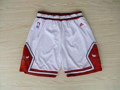 Men's NBA Chicago Bulls White Short02