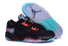 New Air Jordan 5 Retro Low CNY 2018 Black Bright Crimson-Beta Blue - Mysecretshoes New Jordans Shoes, New Shoes, Air Jordans, Women's Shoes, Shoes Sneakers, Mules Shoes, Basketball Tricks, Basketball Shoes, Nike Air Jordan Retro