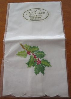 Christmas Embroidered Hand Towel' New' depicts Holly Cotton in Home & Garden, Bath, Towels & Washcloths | eBayChristmas Embroidered Hand Towel' New' depicts Holly Cotton SELLER ID:kathy_a1