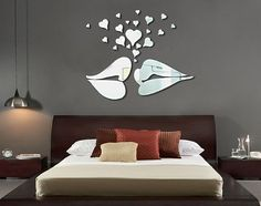 Apexshell(TM) Silver Lip Love Kissing Big Heart sharp Modern Stylish Simple Style Fashion Art Design Removable DIY Acrylic Mirror Wall Decal Wall Sticker for Kitchen Dining Room Home Decoration * Trust me, this is great! Click the image. : DIY : Do It Yourself Today