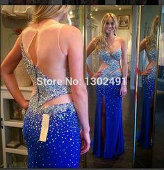 abendkleider crystal 2015 royal blue prom dress See Through Side Split Floor Length Chiffon Mermaid Evening Party Gowns Formal