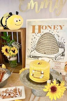 Take a look at this cute bumble bee 1st birthday party! The cake is so sweet! See more party ideas and share yours at CatchMyParty.com