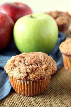 Easy Apple Cinnamon Muffins Recipe - RecipeGirl.com.  Terrific fall muffin recipe.