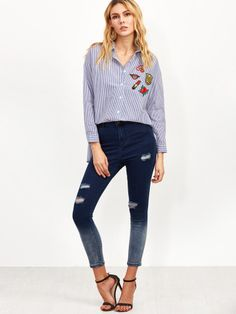 cbd06281f3c91 SHEIN offers Navy Ombre Ripped Skinny Ankle Jeans   more to fit your  fashionable needs.