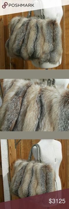 Crystal Fox Fur Purse by Dawn O'Neill Genuine Real Also on EBY! @katisiepiersk0  One of a kind, handmade bag from Dawn O'Neill. Very rare to come by! Made of real Crystal Fox Fur, 2 handmade handles w/ silver handware & a cool taupe silk satin lining. Color in pics is accurate on my screen. Slight defect on a strap, it came that way, as shown in photos. The fur is in wonderful, excellent condition. A lifelong true statement piece!  Willing to trade for an equally gorgeous genuine fur piece…