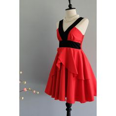 Red Dress Retro Vintage Dress Style Red Party Dress Bright Red Prom... ($39) ❤ liked on Polyvore featuring dresses, grey, women's clothing, sexy red dress, short prom dresses, short red cocktail dress, red dress and sexy short dresses