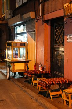 Street vendor and his tables  Mumhane Street, Karakoy