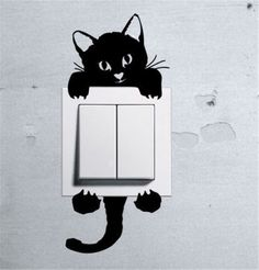 Home Wall Decor Decals Art Mural Funny Cute Cat Wall Stickers Light Switch +Gift