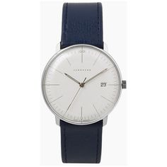 Junghans Max Bill Quartz Wristwatch (880 CAD) ❤ liked on Polyvore featuring jewelry, watches, accessories, dark blue, water proof watches, quartz jewelry, waterproof watches, polish jewelry and junghans