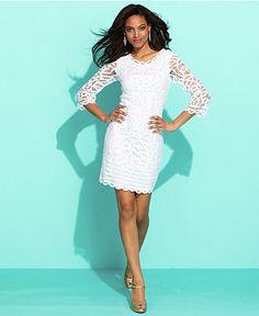 INC International Concepts Dress, Three-Quarter-Sleeve Lace Sheath - Womens Dresses - Macy's