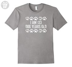 I Am 133 Dog Years Old Funny 19th Birthday T-Shirt - Male Medium - Slate - Birthday shirts (*Amazon Partner-Link)