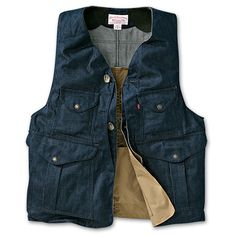 www.Filson.com   Filson Denim Original Hunting Vest - Classic convenience and comfort merge in a vest made with Levi's dark snub denim