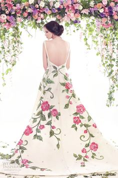 fadwa baalbaki spring 2016 couture jewel neck ball gown multi color floral print bv