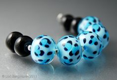 Blue Leopard Handmade Lampwork Glass Beads SRA by LoriBergmann, $42.00