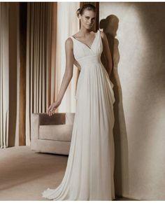 Chiffon Sleeveless Ruched V-neck Column Wedding Dress @Emily Schoenfeld Schoenfeld Tomlin this one looks like something a greek goddess would wear