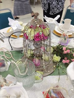 Centerpiece for Pearls and Lace | Centerpiece | Tea Party Table | LSC Ladies Tea Party 2013 | Mary Esther Casanova