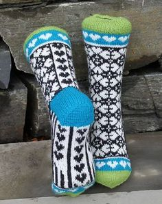 Ravelry: Heart Mix Sock pattern by Aud Bergo Knitted Slippers, Wool Socks, Slipper Socks, Knitting Socks, Baby Knitting, Silly Socks, My Socks, Stocking Tights, Novelty Socks