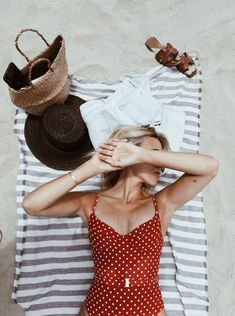 One-Piece Swimsuit Wonders - One Piece Swimsuits - Ideas of One Piece Swimsuits - One piece belted red swimsuit with white polka dots. Women's fashion 2018 vacation outfits summer outfits swimsuits one piece swimsuit Red Swimsuit, Red Bikini, Bikini Beach, One Piece Swimsuit Red, Red One Piece, Fashion Moda, Fashion 2018, Trendy Fashion, Women's Fashion