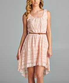 Love this As U Wish Pink Geo Lace Hi-Low Dress by As U Wish on #zulily! #zulilyfinds