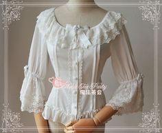 WISHLIST Magic Tea Party ***Notes Song*** Lace Chiffon Lolita Blouse $39.99 - My Lolita Dress