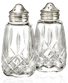 Waterford Crystal Lismore Salt and Pepper Shakers -- trying to find a nice… Waterford Lismore, Waterford Crystal, Salt And Pepper Mills, Crystals In The Home, Crystal Glassware, Crystal Gifts, Clear Crystal, Crystal Web, Top Gifts