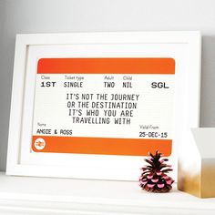 A personalised train ticket print is a perfect gift featuring a romantic quote about our journey through life.The name and date sections of this print can be personalised so why not add the names and date of a happy couple's wedding? Or the name and date of someone's departure as they leave on their travels. Or an anniversary gift, Valentine's - the list of occasions is endless. The number of adults and children can also be amended to include the number of people within the recipient's…