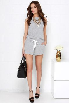 Keen Machine Heather Grey Romper at Lulus.com!