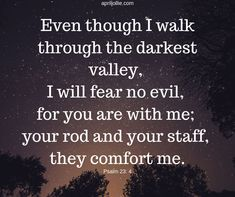 Some trips to the emergency room can seem like you are walking in a dark valley. But if you are a child of God, you have no need to fear evil. For the Lord is with you and will comfort you with his presence. Psalm 23, 21 Days, Like You, The Darkest, Pray, Trips, Cancer, Lord, Walking