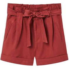 Cotton Linen-Blend Shorts (2,490 INR) ❤ liked on Polyvore featuring shorts, pleated shorts, bow shorts, embellished shorts, mango shorts and zipper shorts