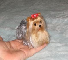Needle Felted Yorkie by Fiber Artist GERRY / by GourmetFelted, $250.00