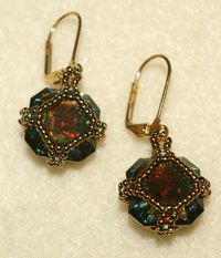 Captured crystal cubes earring project. Learn how to make modified herringbone stitch beaded bezels for small crystal cubes. Free beaded earring project from Beading Daily!  http://www.beadingdaily.com