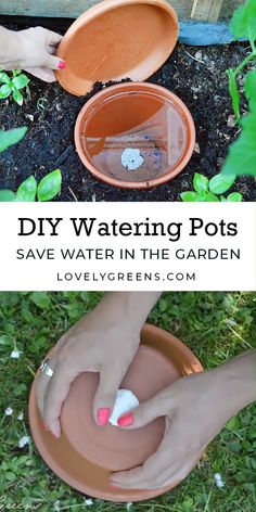 How to make inexpensive self-watering ollas using terracotta pots. A clever way to keep plants watered in both the greenhouse and outdoors. Full DIY video included diy garden landscaping How to make DIY Ollas: Low Tech Self-Watering Systems for Plants Garden Yard Ideas, Garden Pots, Garden Landscaping, Garden Trellis, Garden Crafts, Herbs Garden, Patio Ideas, Landscaping Ideas, Diy Garden Ideas On A Budget