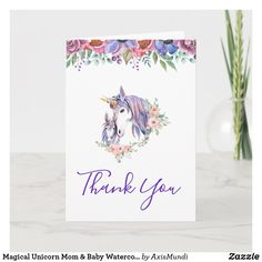 Magical Unicorn Mom & Baby Watercolor Thank You Card Unicorn Mom, Magical Unicorn, Animal Cards, Pretty Horses, Blossom Flower, Floral Bouquets, Custom Greeting Cards, Mom And Baby, Watercolor Illustration