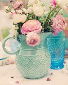 Gorgeous jug with prettiest pink ranunculas...