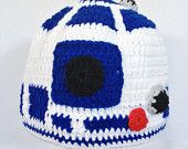 R2D2 Crochet Hat, Starwars White and blue, Include desired size newborn-adult