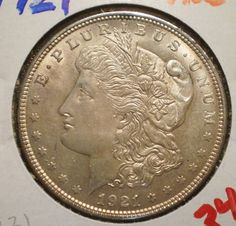 1921 Morgan Dollar - Silver Dollar - Last Morgan - About Uncirculated Coin - Coin Collection - Silver Coinage / Coins - Display, Jewelry by EarthlyCrystals33 on Etsy