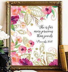 Bible verse Proverbs 31:10 art nursery wall art She is more